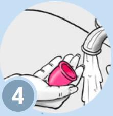 Spală curăță, fierbe cupa înainte de a o utiliza din nou.
